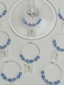 100-Blue-Crystal-Butterfly-Wine-Glass-Charms-Favours-Wedding-Christening