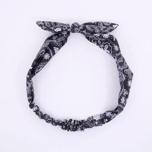 Women Paisley Retro Bandana Bowknot Print Hair Band Stretchable Head Wrap