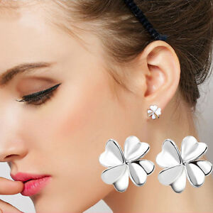 Fashion-Four-Leaf-Clover-Ear-Stud-Earrings-Women-039-s-Silver-Plated-Jewelry