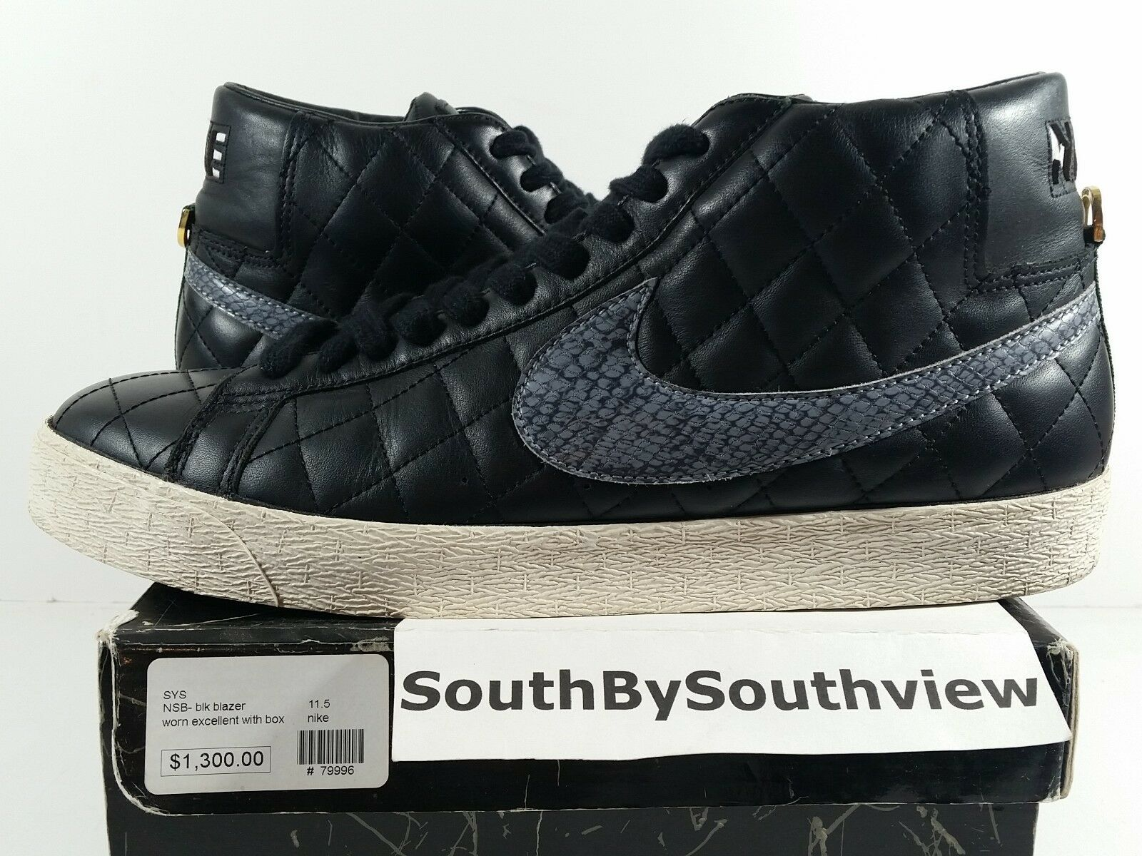 Nike SB Blazer Supreme Black Size 11.5 Worn Excellent New York Red 313962-001