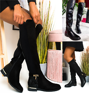 Damen Stiefel Flach Weites Bein Stretch Dehnbar Über dem Knie Hohe Flache Schuhe