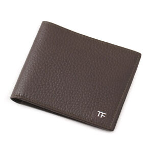 New-390-TOM-FORD-Olive-Grained-Leather-Classic-Bifold-Wallet-with-Silver-Logo