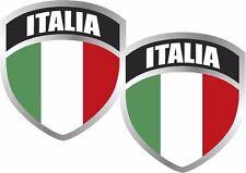 "2 - Italia Flag Shield Decal Set 3""x2.5"" Badge Italian Italy Vinyl Sticker"