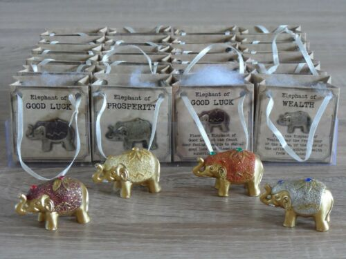 Lucky Mini Gold Glitter Small Elephants Asian Party Table Wedding Bag Favours