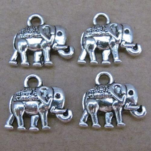 20pc Plata Tibetana Colgante Elefante Animales Encantos Colgante Joyería haciendo 57AF