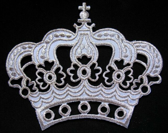 BIG CUTE IMPERIAL WHITE SILVER CROWN Embroidered Iron on Patch Free Shipping