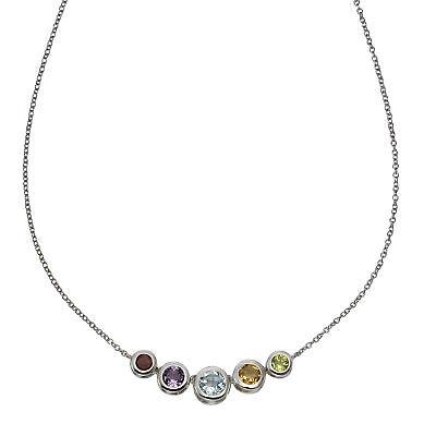ZEEme Jewelry Damen Halskette Halsschmuck 925 Sterling Silber 40cm Echtstein
