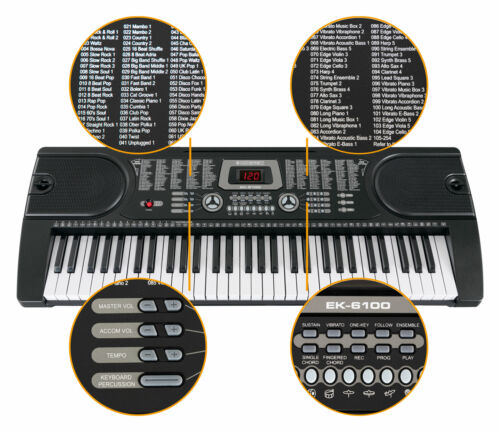 Mikrofon /& Lernfunktionen Schwarzes Einsteiger-Keyboard mit 61 Standard-Tasten