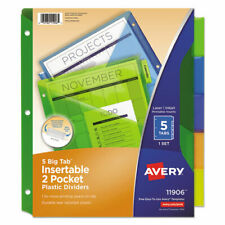 Avery 5 Tab 2 Pocket Plastic Index Dividers Ave11906