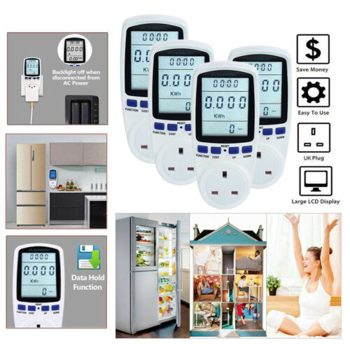 UK Plug in Electric Power Consumption Meter Energy Monitor Watt Kwh Analyzer