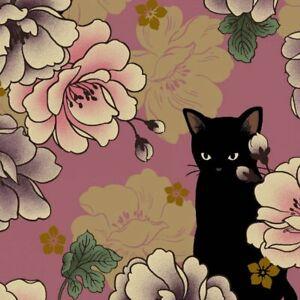 Quilt-Gate-Hyakka-Ryoran-Neko-Cat-Fabric-HR3110Y-11I-Rose-w-Gold-Metallic-BTY
