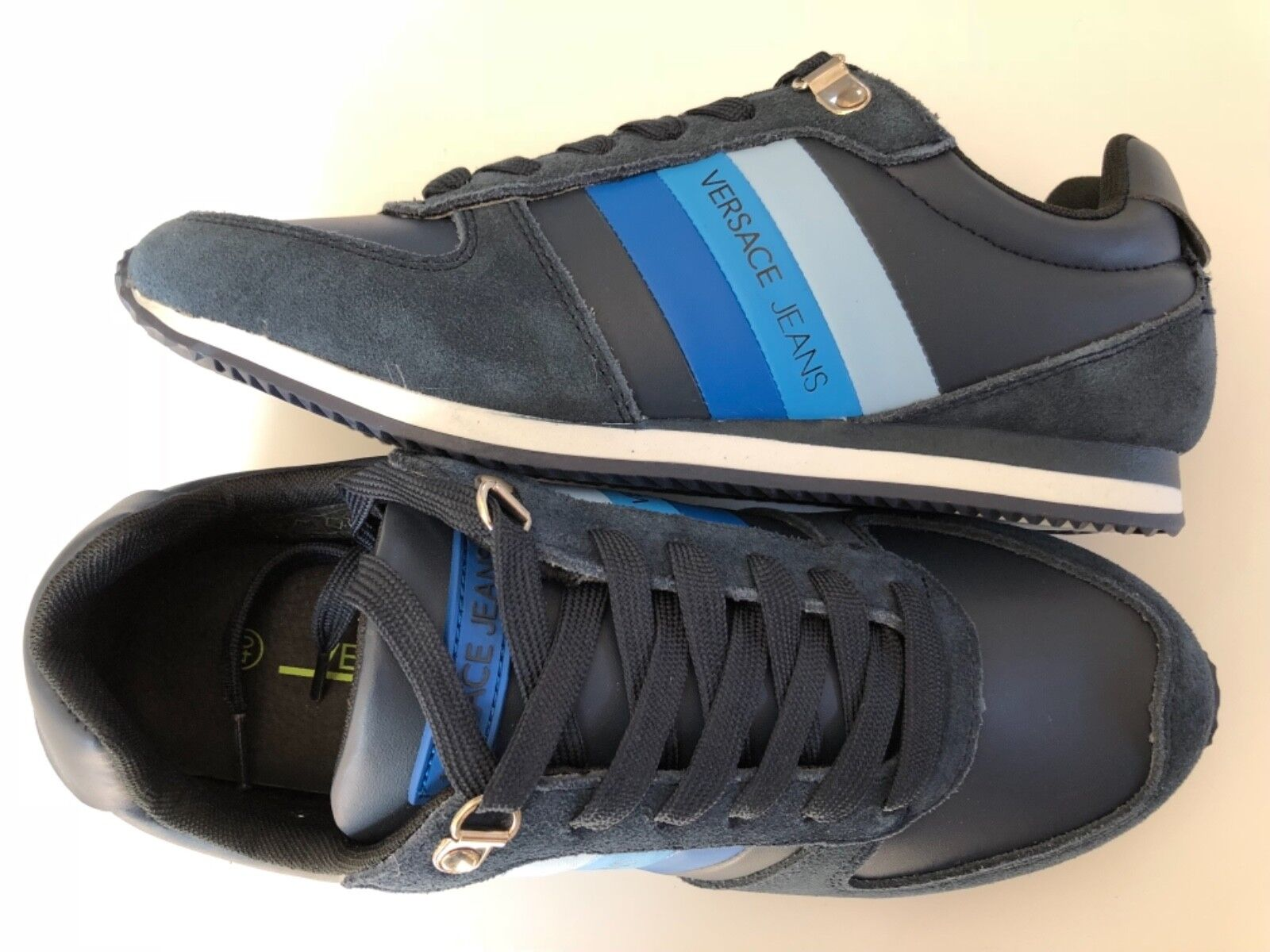 VERSACE JEANS bluee Striped Logo Runner Trainers Sizes BNWT BOX