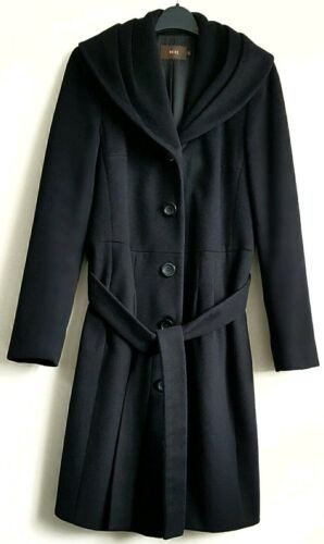 Ladies Reiss Rrp S Belted Coat Uk Size Black £325 10 8 Cqwqzdr