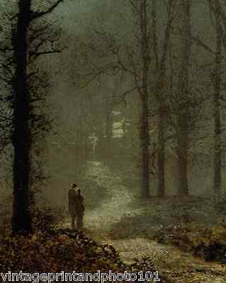 Lovers in the Woods by Grimshaw 8x10 Print Victorian Moonlight Night Couple 0115