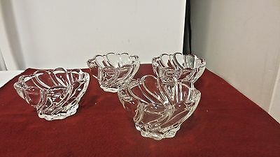Lot 4 Mikasa Crystal Clear Glass Peppermint Swirl Serving/Desert Bowls