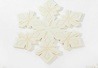 Set of 4 Snowflake Christmas Table Felt Dish Mats, Placemat Tablemat Xmas, 25cm