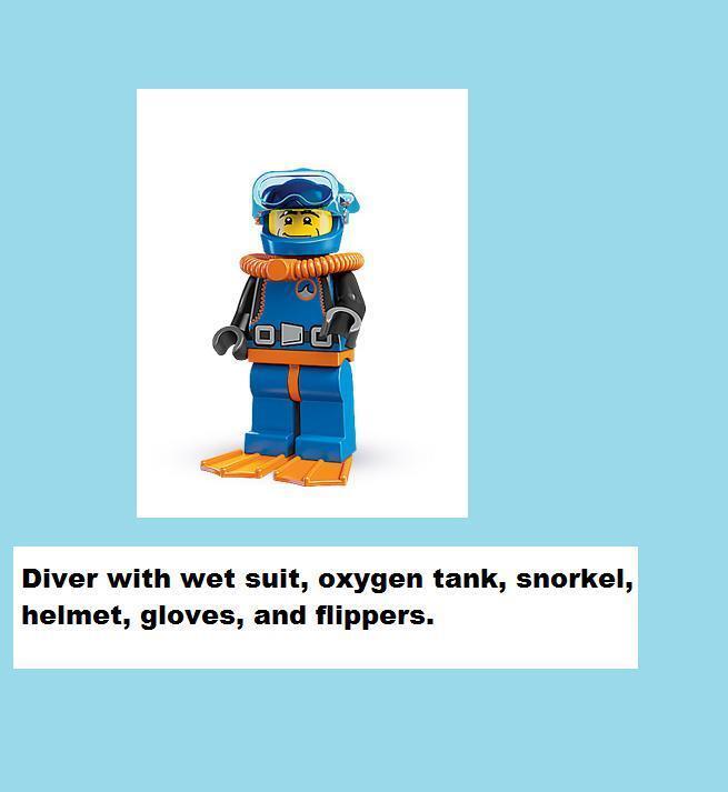 LEGO 8683 Sealed SERIES 1 DEEP SEA OCEAN DIVER SAILOR SAILOR SAILOR SHIP Flipper Snorkel Water b6fd1f