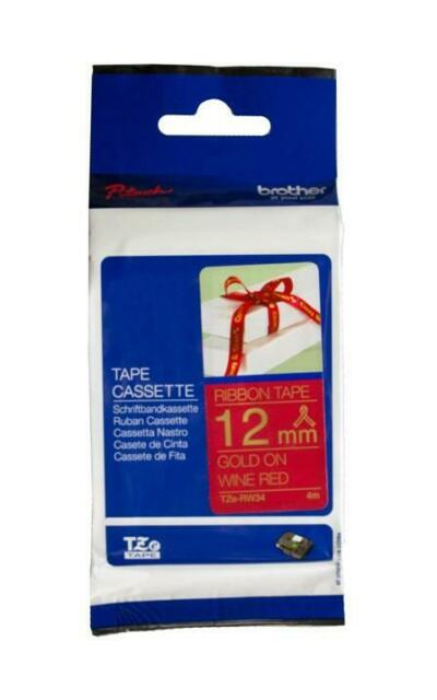 3x Genuine Brother P-Touch Tape TZe-RW34 12mm Gold on Wine Red Ribbon Tape