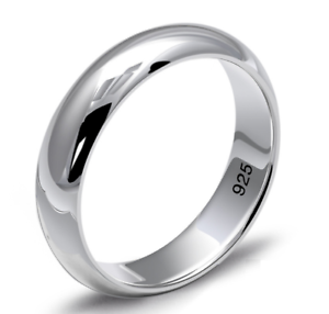 Anello-Fede-Fedina-Fidanzamento-massiccia-5-Gr-Argento-925-Uomo-Donna