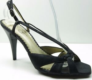 fb5bf8c701e Image is loading Jessica-Simpson-Black-Leather-Slingback-Sandals-Pumps-Heels -