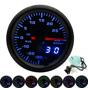 "2/"" 52mm Digital Analog Turbo Boost Bar Gauge Pressure Meter Blue LED Tinted Face"