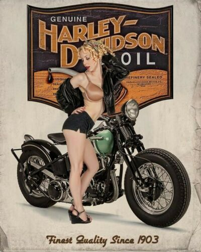 Harley Davidson Motorcycle Oil Man Cave DECOR Pinup Girl 8X10 Photo Sign Pic Pix
