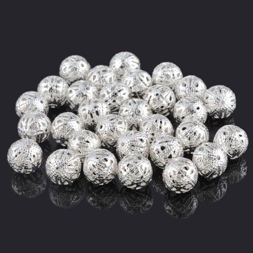 50 Perles intecalaires Filigrane Boule Argenté 12mm Dia.