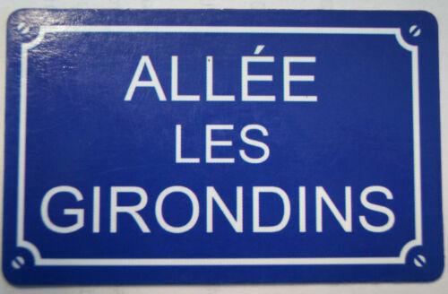 """PLAQUE DECORATION CAOUTCHOUC AIMANTEE MAGNET BLEU  MOTIF /""""ALLEE LES GIRONDINS/"""""""