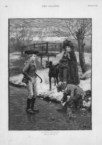 1893-FINE-ART-Antique-Print-In-Dark-December-Frank-Dadd-Boy-Skates-274