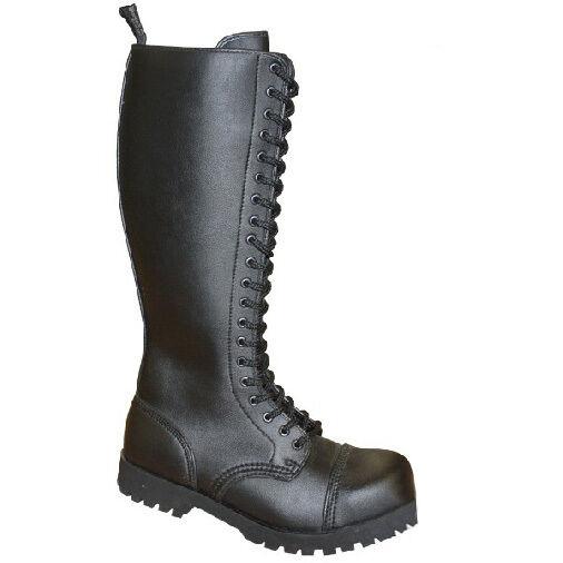 Boots & Braces 20-Loch Stiefel Vegetarian-Vegan-Boots-Rangers-schwarz-Metal-Goth
