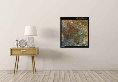 Science Map Satellite Anyuyskiy Volcano Lava Russia Replica Canvas Art Print