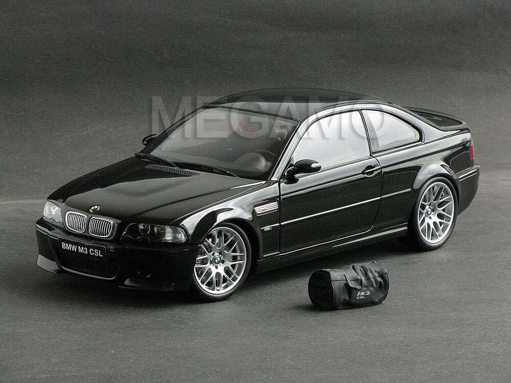 Kyosho BMW e46 M3 CSL 2003 Negro con Bolsa Bbs Carbono Techo rara erupción de pintura