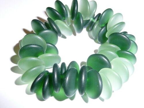 Beautiful Czech Glass Lentil Beads Matte Dark /& Light Olive Green Beads 12mm