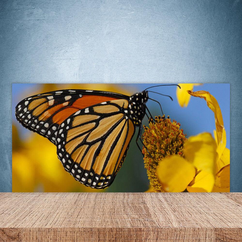 Vidrio Templado Cocina salpicaduras 100x50 Mariposa Flor De La Naturaleza