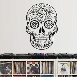 Sticker Decoration Xxl Tete De Mort Mexicaine Motif Fleur Rose