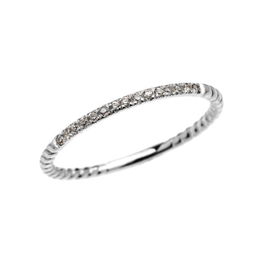 Dainty 14k White Gold 15 Diamonds Stackable Rope Design Ring
