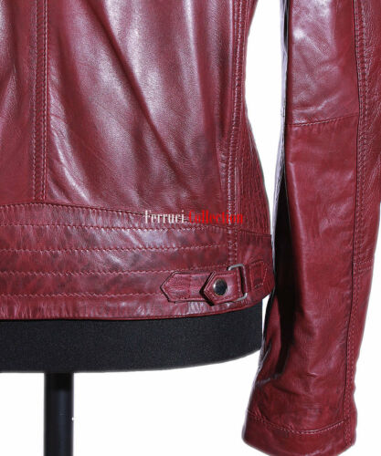 Leo Cherry Red Mens Biker Retro Racer Style Real Soft Lambskin Leather Jacket