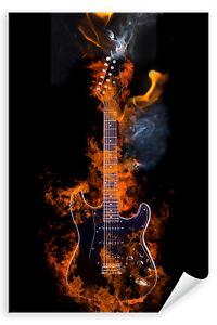 Postereck-Poster-2920-E-Gitarre-Flammen-Rauch-Feuer-Musik-Rockn-Roll-Band