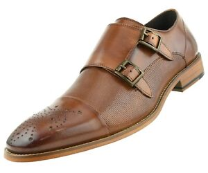 291567be3263 Image is loading Asher-Green-Mens-Tan-Genuine-Leather-Double-Monkstrap-