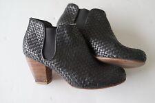 gorman black leather weave ankle bootie/heels…size 39…see description...
