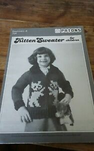 Vtg-Patons-knitting-pattern-L-4-childs-Kitten-sweater-Cardigan-sz-6-10
