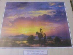 "Jack Sorenson Western Landscape Print On Cardboard Backing 16"" x 20"""