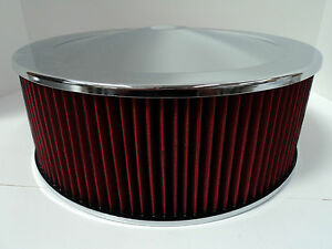 14-034-X-5-034-Round-Chrome-Washable-Red-Air-Cleaner-Drop-Base-Extreme-Chevy-SBC-350