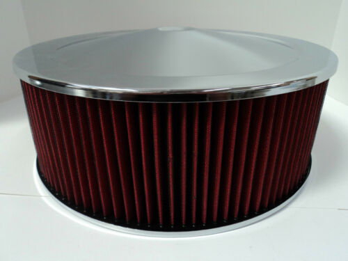 """14/"""" X 5/"""" Round Chrome Washable Red Air Cleaner Drop Base Extreme Chevy SBC 350"""
