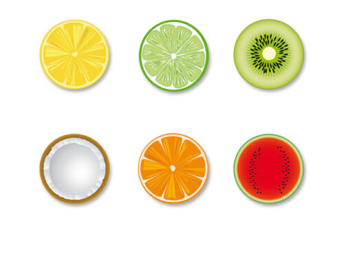Lot Pack Magnet Aimant Frigo Ø38mm Fruit Arbre fruitier Vitamine C Flore