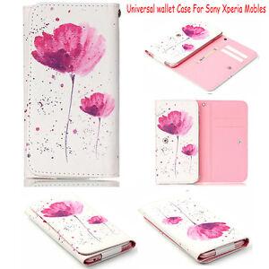 Fiore-modello-Universal-Flip-in-Pelle-Portafoglio-Custodia-Cover-per-Sony-Telefoni-Cellulari