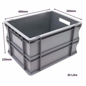 Very Strong Heavy Duty Type Stackable Plastic Euro Storage Boxes 16 Sizes 20 Litre