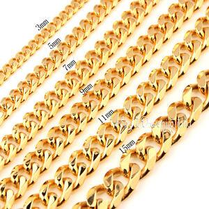 3-15MM-18K-Gold-Stainless-Steel-Chain-Curb-Link-Men-039-s-Women-039-s-Necklace-Bracelet