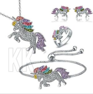 Christmas Unicorn Pendant Necklace Chain Flying Horse Kids Jewellery Party Gifts