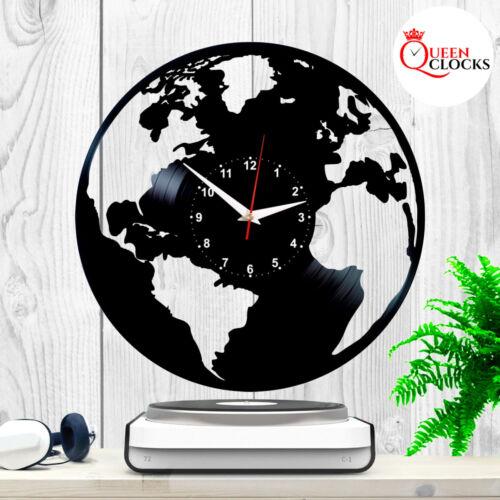 Planet Earth Wall Clock Vinyl Record World Map Wall Art Globe Décor Birthday Gif